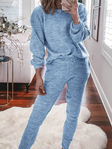 Women'S Casual Simple Loose Top Pants Knit Suit