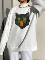 Women'S Fashion  Casual Cat Round Neck Oversized Sweatshirt
