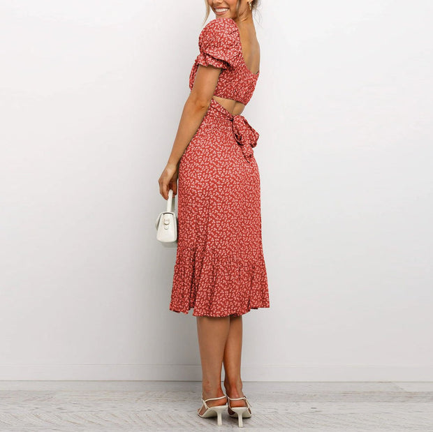 Printed round neck sexy lace puff sleeve floral dress