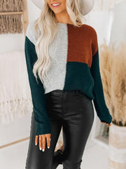 Women'S Casual Loose Contrasting Color Sweater