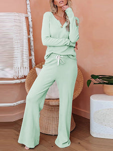Women'S Casual And Comfortable Knitted Long-Sleeved Trouser Suit