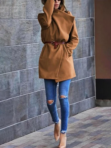 Women'S Fashion Woolen  Pocket Coat