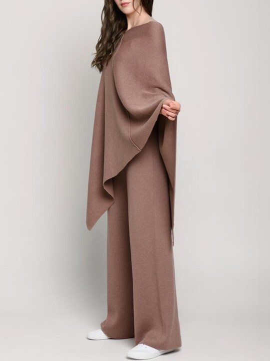Women'S Fashion Casual Retro Solid Color Cloak Suit