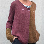 Women'S Stitching Buttons V-Neck Sweater
