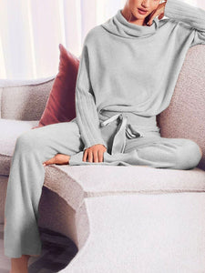 Women'S Casual Simple High Neck Long Sleeve Top Pants Knit Suit