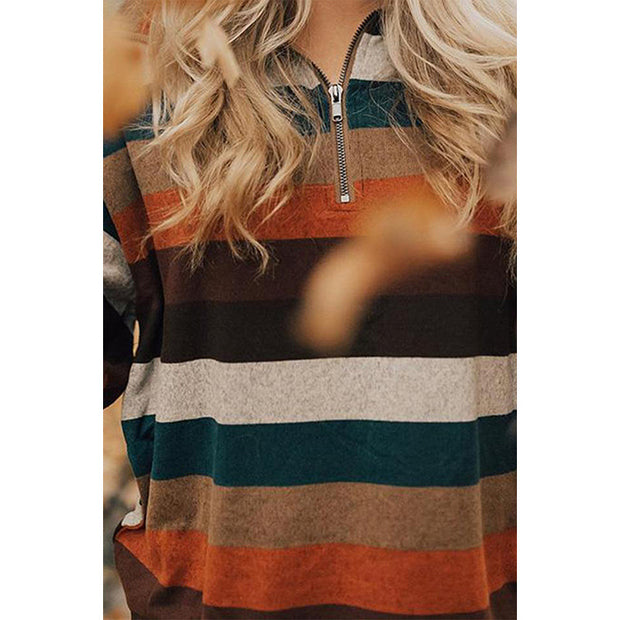 Women'S Loose Striped Zipper Pullover Sweatshirt