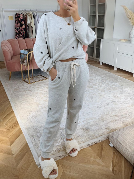 Women'S Fashion Star Round Neck Loose Casual Solid Color Two-Piece Suit