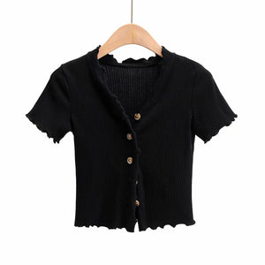 Short-sleeve cardigan breasted V-neck fungus small fresh top