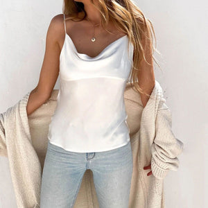 Stylish wild solid color sling top