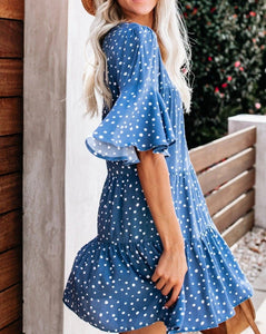 Women sexy fresh ruffled skirt polka dot dress