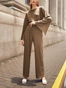 Women'S Round Neck Long Sleeve Knitted Loose Suit