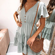 Elegant solid color V-neck short sleeve dress