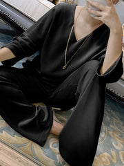 Women'SFashionable Simple Casual Loose Comfortable Top Pants Suit