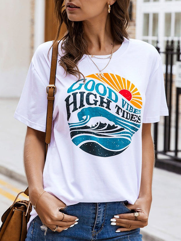 Printed round neck short sleeve T-shirt
