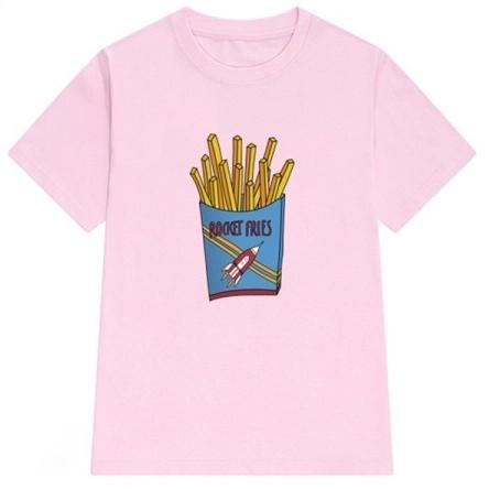 WOMEN'S DAILY FRIES PRINT LOOSE CASUAL T-SHIRT