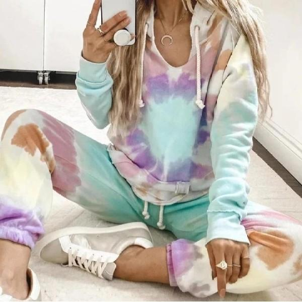 Fashion Tie Dye Hoodie Long Sleeve Lounge Set