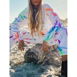 Fashion Outdoor Printed Hoodie And Loose Sweatpants Set