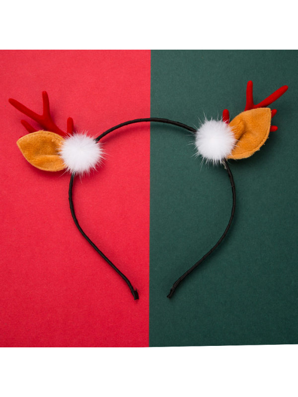 Women'S Christmas Series Feather White Ball Resin Flannel Antler Headband Cute Headband Accessories