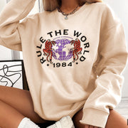 Women'S Fashion Tiger Pattern Round Neck Printed Long-Sleeved Casual Sweatshirt