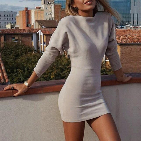 Fashion Long Sleeves Plain Bodycon Dress Mini   Dress