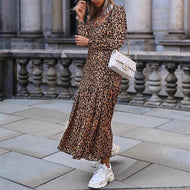 V Neck Long Sleeve Leopard Printed Maxi Dress