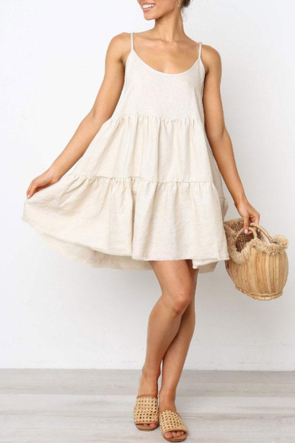 Spaghetti Strap  Plain  Sleeveless MINI Casual Dresses