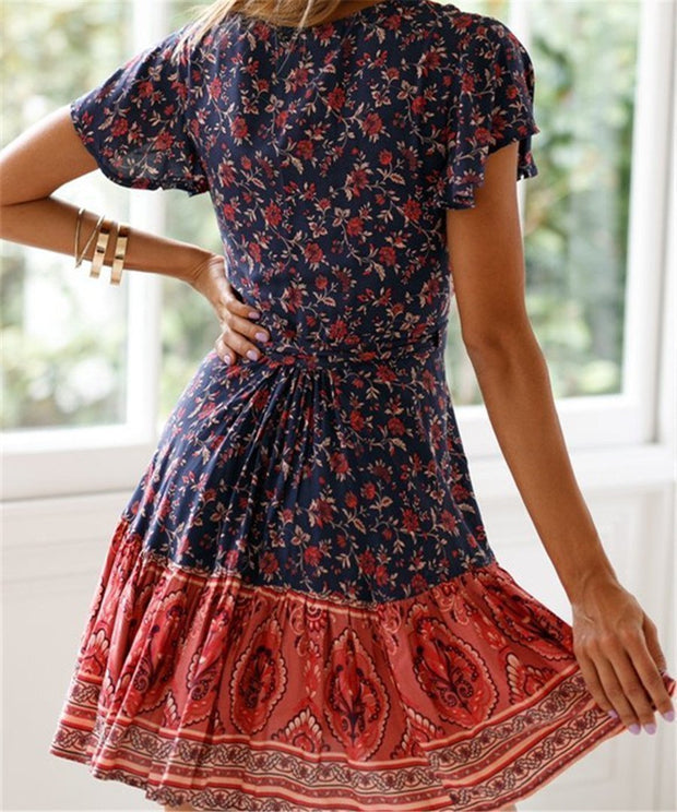 Summer V Collar Floral Printed Loose Color Block Vacation Dress