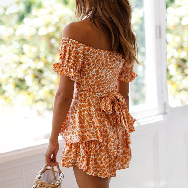 Women Elegant  Off Shoulder  Print Dress