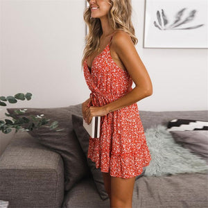 Sexy Deep V Collar Floral Printed Vacation Dress