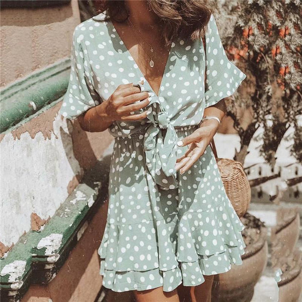 Summer Deep V-Neck Strappy Polka Dot Printed Falbala Short Dress