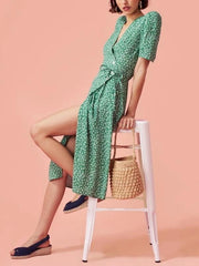 RETRO SHORT-SLEEVED V-NECK PRINT MID-LENGTH BEACH HOLIDAY TEA BREAK DRESS