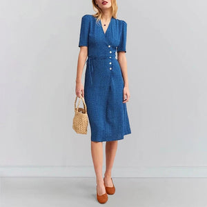 V NECK SHORT SLEEVE PRINTED COLOUR SINGLE-BREASTED DRESS