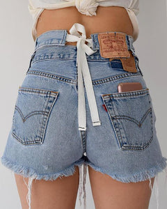 Pure Color High Waist Tie Denim Shorts