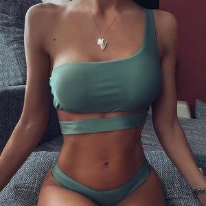 Women Sexy solid color split swimsuit Bikinis