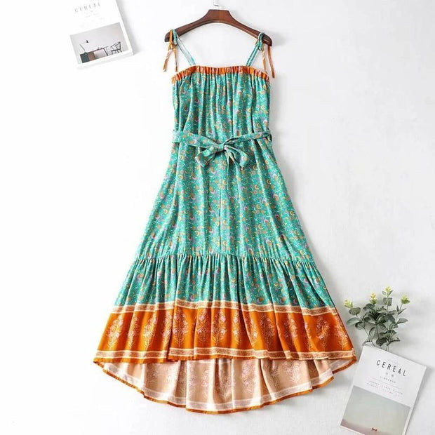 Hippie Backless Sexy Floral Midi Strap Sleeveless Slip Dresses
