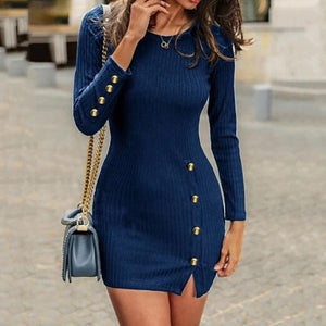SEXY LONG SLEEVED KNIT HIP DRESS