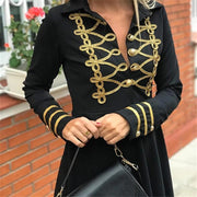 Fashion Lapel Long Sleeve Splicing Dress