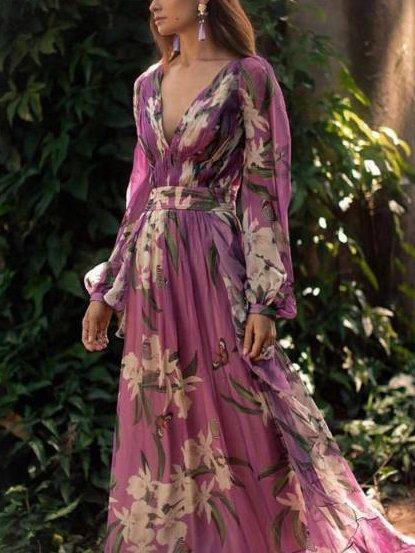 Women's V-neck Long Sleeve maxi Dress
