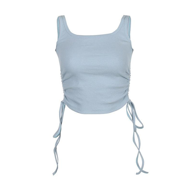 Side drawstring waist pleated solid color base vest