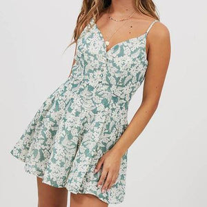 Women's Fashion Casual Floral Print Sling Dress