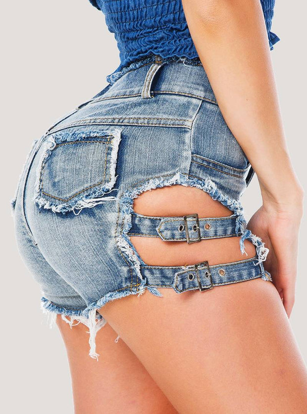 Women's sexy nightclub night show high waist denim letter shorts