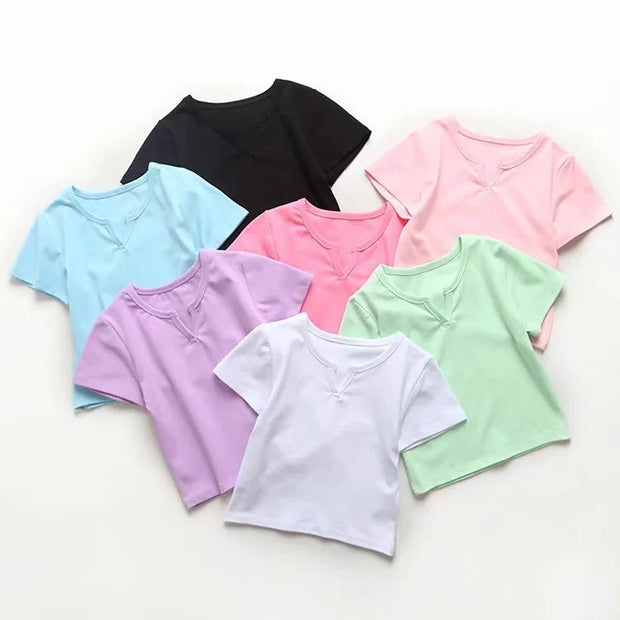 Casual short sleeve V-neck high waist top