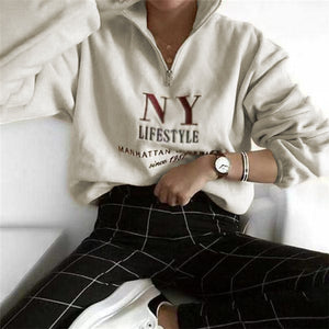 Zipper letter printed long sleeve sweater
