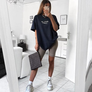 Womens Fashion Simple Letter Print T-Shirt