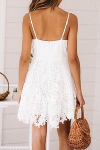 Sexy V-Neck White Strap Lace Stitching Dress Female