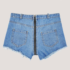 Women's sexy high waist hole short short nightclub denim shorts