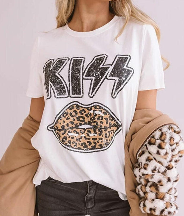 Women Lips Kiss letter print T-shirt