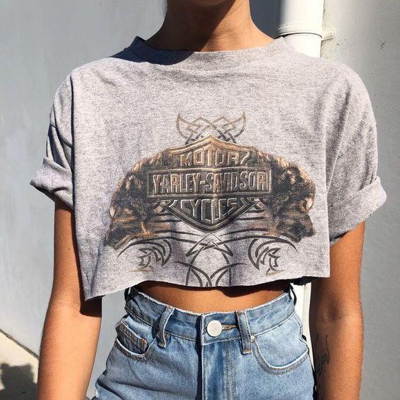 Casual street print round neck T-shirt top