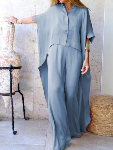 Women's Casual Loose Irregular Shirt Pants Suit