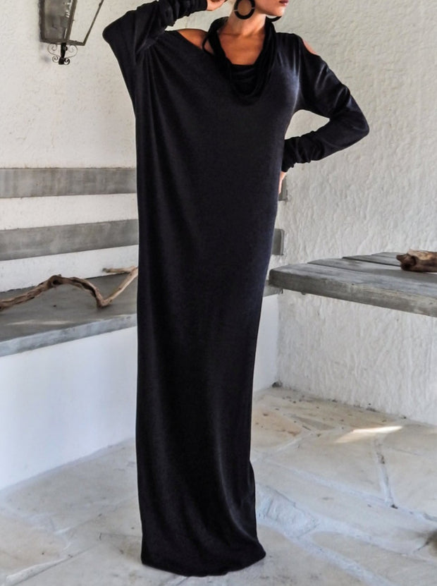 Women'S Warm Winter Off Black Maxi Long Sleeve Dress